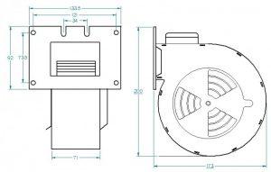 Wymiary - wentylator do pieca c.o. RMS 140 B Ramka typ B