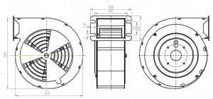 Wymiary wentylator do pieca co RMS 140A Ramka typ A