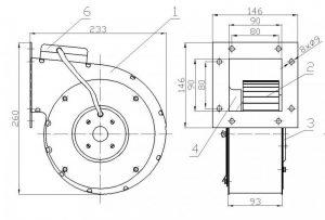 Wymiary wentylator do pieca c.o. RMS 160