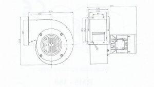 Wymiary wentylator do pieca RMS 180 WS