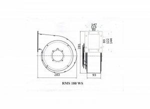 Wymiary wentylator do pieca RMS 180
